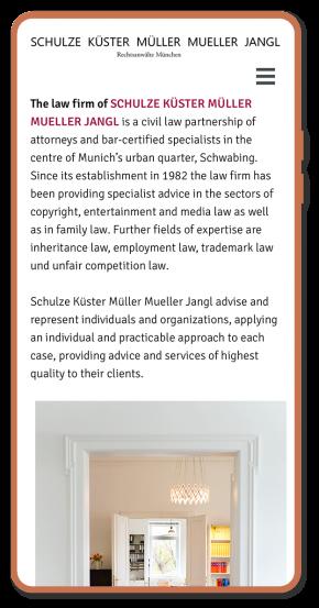 Webprojekt, Responsive, Anwaltskanzlei, Luckypage, München, Agentur für Web, SEO, Digital Marketing, Komunikationsberatung, München